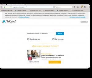 Redirección a la web legítima de La Caixa